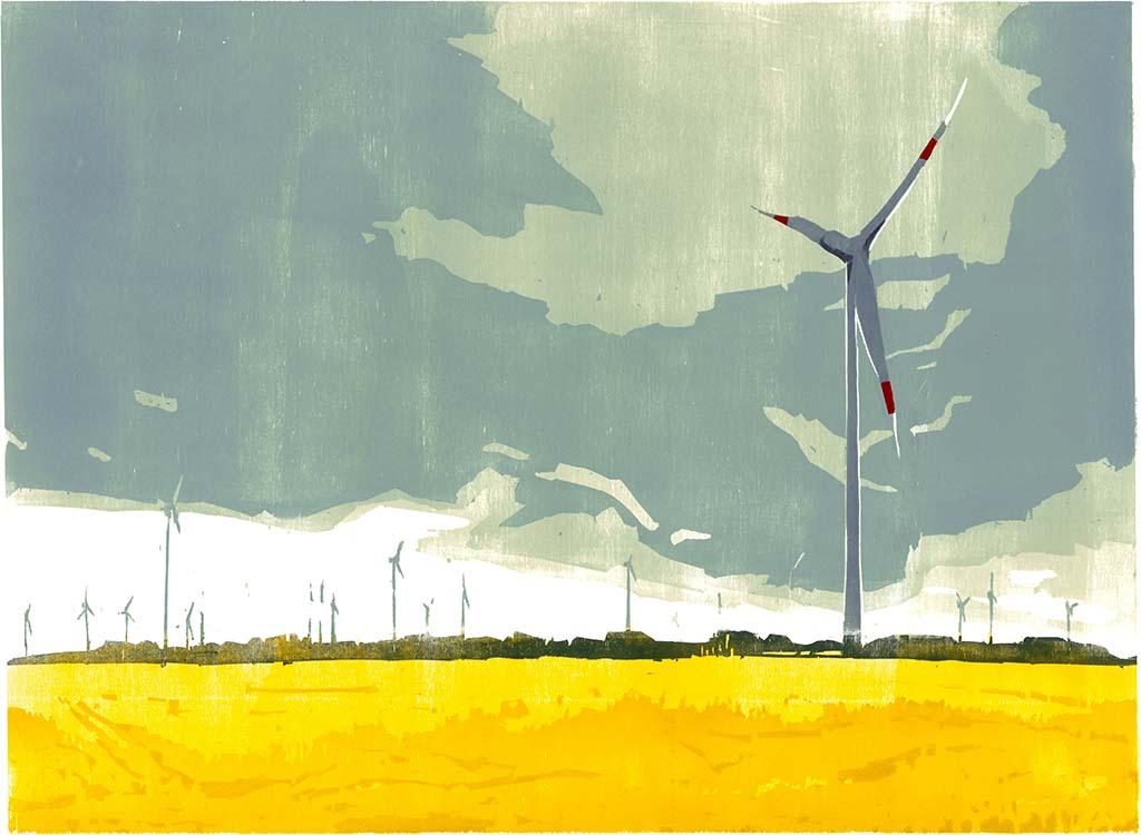 Windräder & Rapsfeld