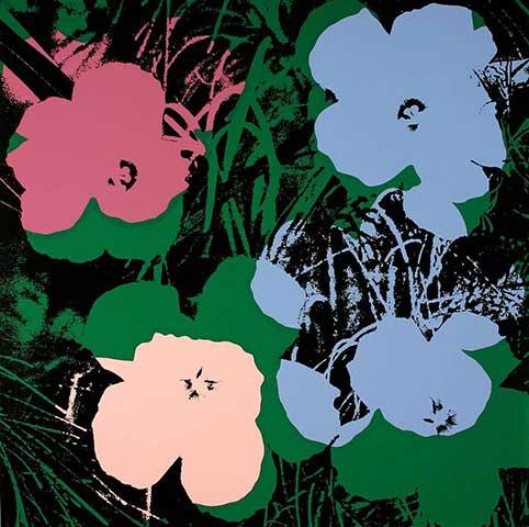 Blumen 64 Blau/Rosa/Pink