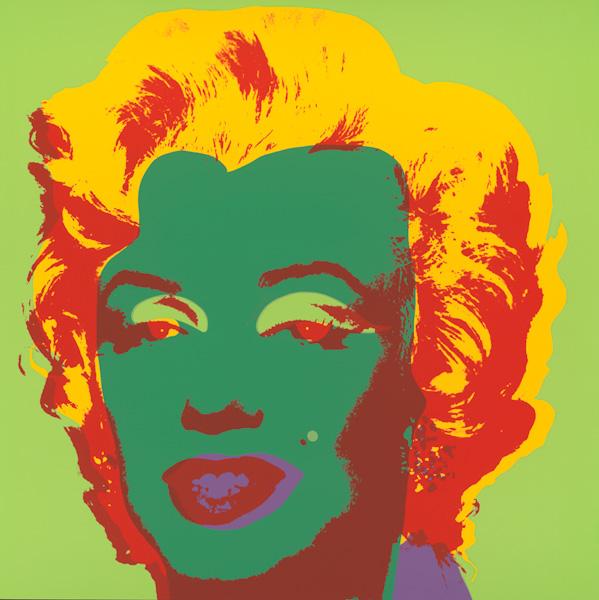 Marilyn Kopf Dunkelgrün-Rot-Gelb