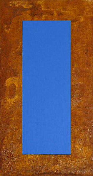 3D Blau auf Rost auf Holz