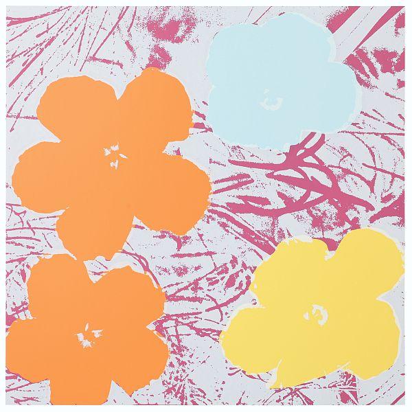 Blumen 70 Beige/Hellblau/Gelb