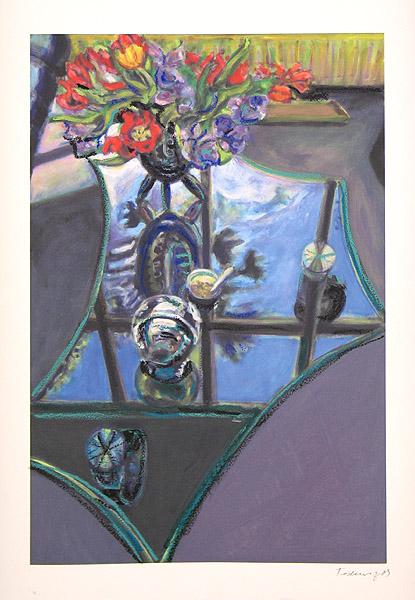 Glastisch mit Blumen II