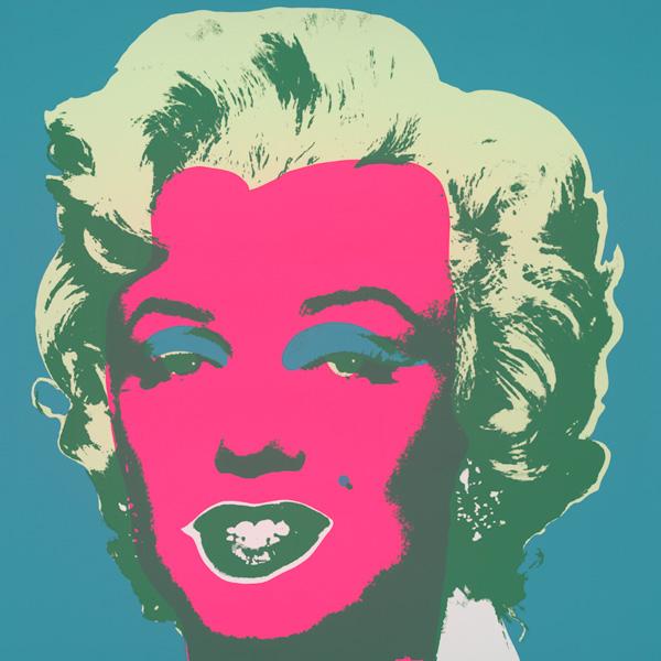 Marilyn Kopf Pink-Hellgrün-Dunkelgrün auf Türkis