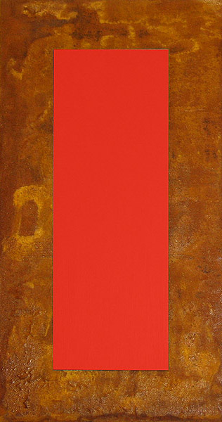 3D Rot auf Rost auf Holz